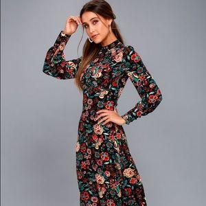 Lulu's Floral Print Long Sleeve Midi Dress